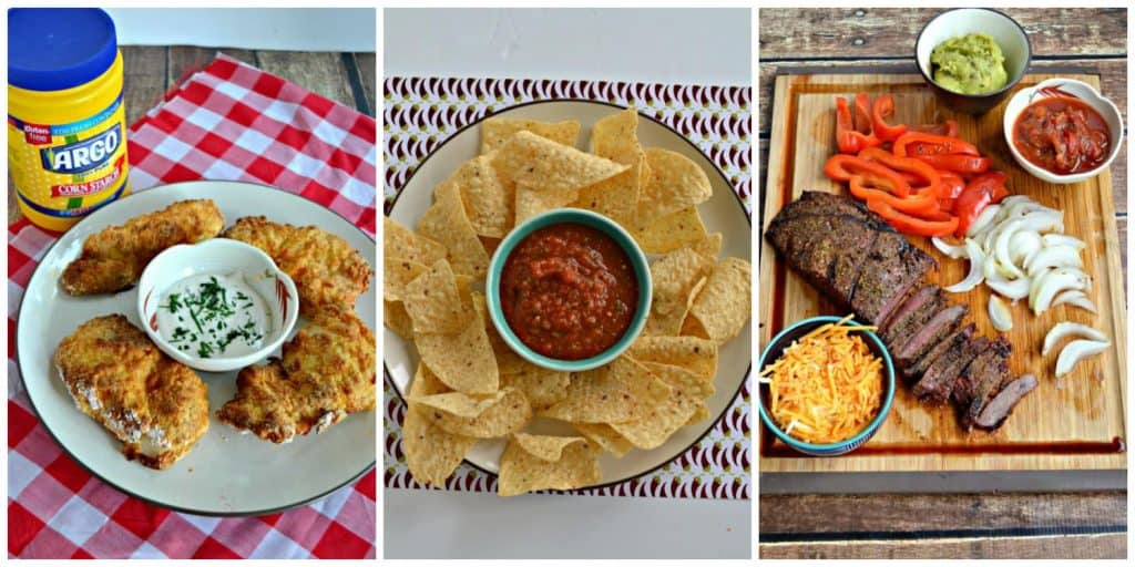 Pin Collage: A plate of fried chicken with a bowl of ranch, a platter with tortilla chips and salsa in the middle, a cutting board with flank steak, peppers, onions, cheese, and salsa on it.