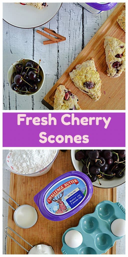 Pin Image: A cutting board with scones on it, a tub of butter, 3 cinnamon sticks, a bowl of cherries, and a plate with a scone and a fork on it, text, a cutting board with a cup of flour, a tub of butter, two eggs, a cup of sugar, and a big bowl of cherries on it.
