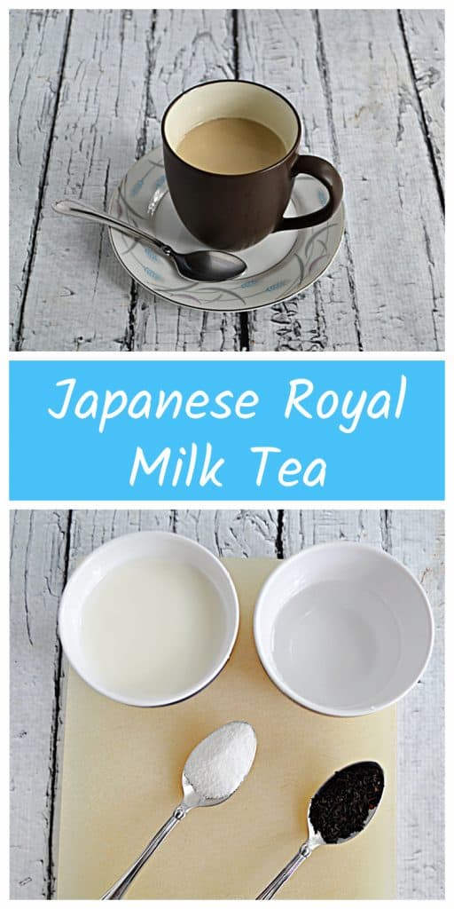 Pin Image: A cup of Royal Milk Tea on a saucer with a spoon next to it, text, a cutting board with a cup of water, a cup of milk, a teaspoon of sugar, and a spoonful of black tea.