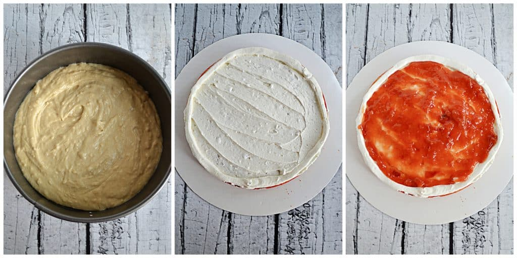 Step by step photos: the cake batter in a pan, the cake frosted, the cake with fresh peach jam spread on it.
