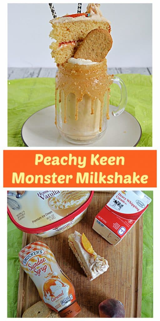 Pin Image: A milkshake sitting in a glass with a thick caramel rim them topped with a graham cracker, a slice of cake, and two straws, text, a cutting board with a tub of ice cream, a pint of heavy cream, a jar of caramel sauce, peaches, a slice of cake, and a pack of graham crackers.