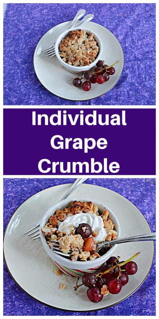 Pin Image: A plate with a ramekin of grape crumble on it, a pile of grapes, and two forks, text, a plate with a bowl of grape crumble on it with a fork digging into the crumble, a stem of grapes on one side, and a fork on the other side.