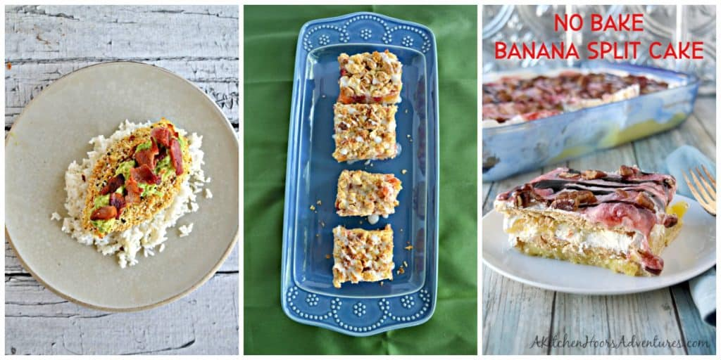 Pin Image: Everything but the bagel avocado chicken over rice, a platter of peach pie bars, and a slice of No Bake Banana Split Cake.