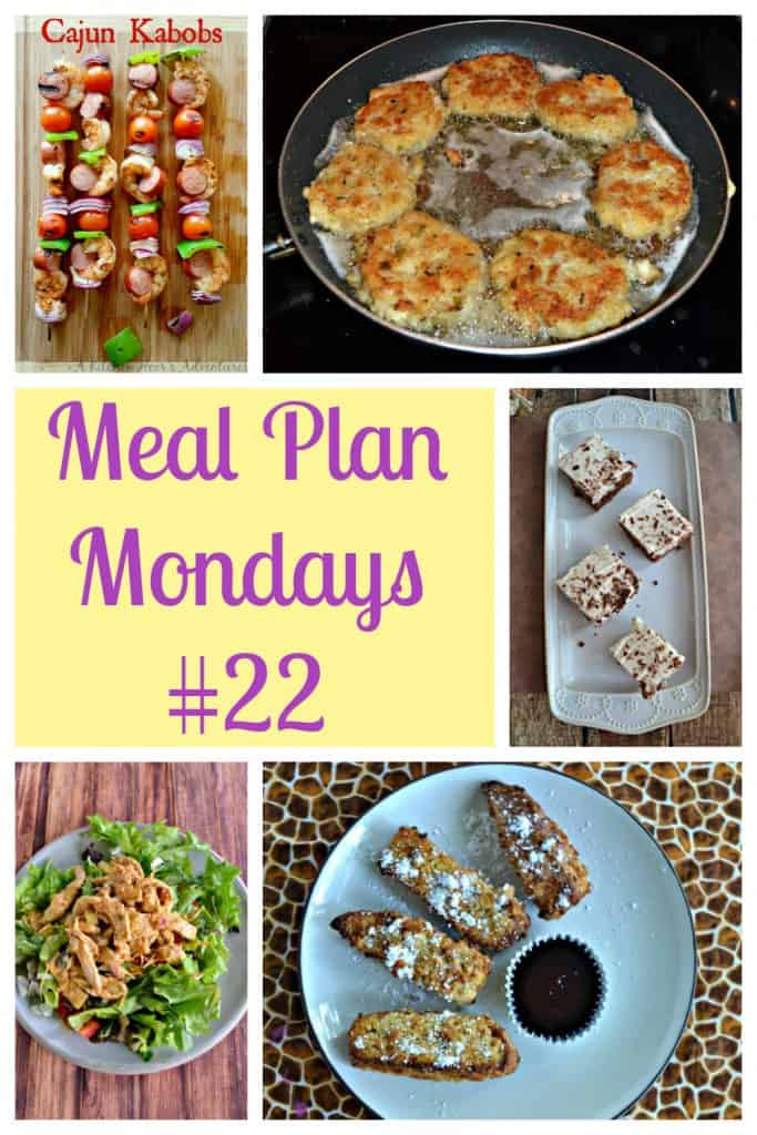 Pin Collage: three skewers of shrimp and vegetables, a pan of cod and potato cakes, a platter of mocha brownies, text, a plate of salad wwith hummus chicken on top, a plate of French toast sticks with syrup.