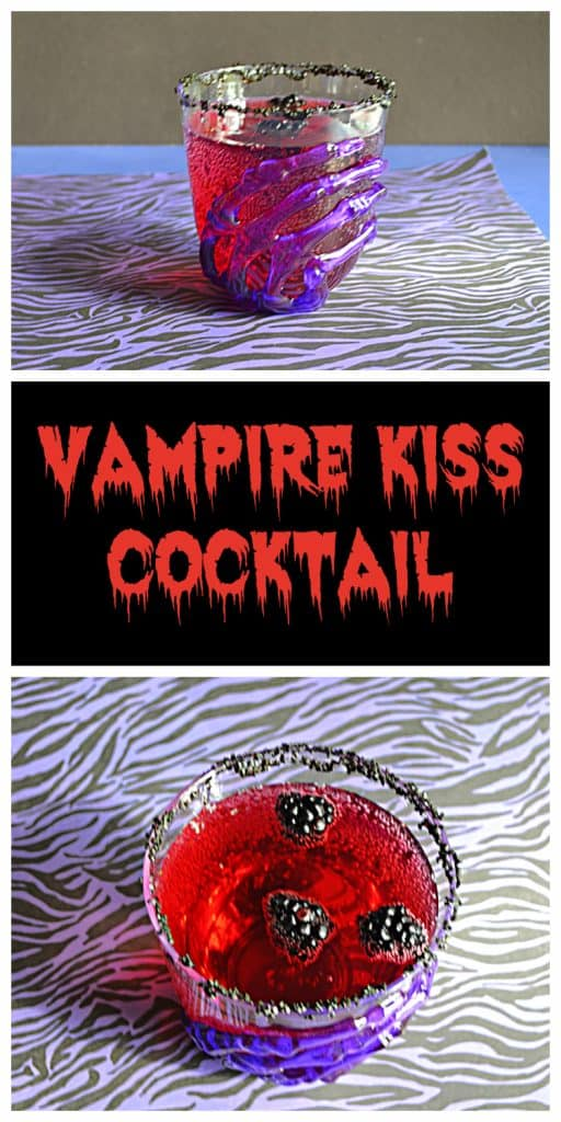 Pin Image: A glass with a skeleton hand on it filled with red Vampire's Kiss Cocktail and floating blackberries, text, a top view of blackberries floating in a red cocktail.