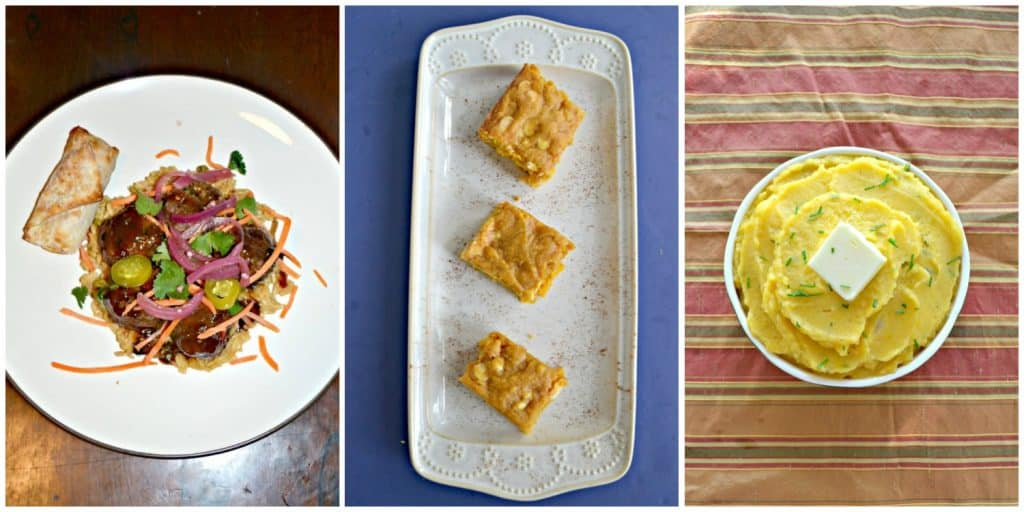 Pin Collage: A plate with Banh Mi Meatballs, rice, and an egg roll, a platter of pumpkin blondies, a bowl of butternut squash mashed potatoes.