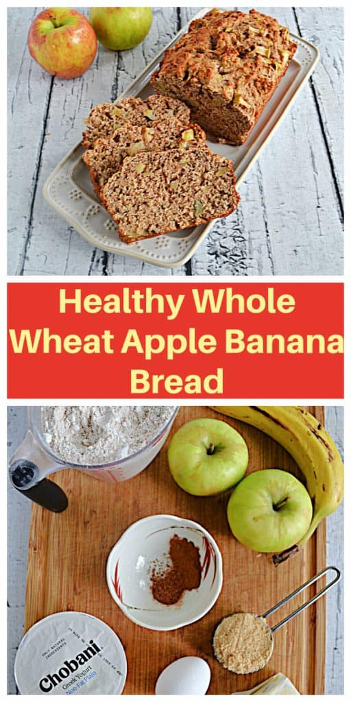 Pin Image: A platter with a close up of three slices of apple banana bread and the rest of the loaf with 2 apples in the background, text, a cutting board with apples, a bowl of spices, a cup of yogurt, an egg, a cup of flour, and a cup of brown sugar.