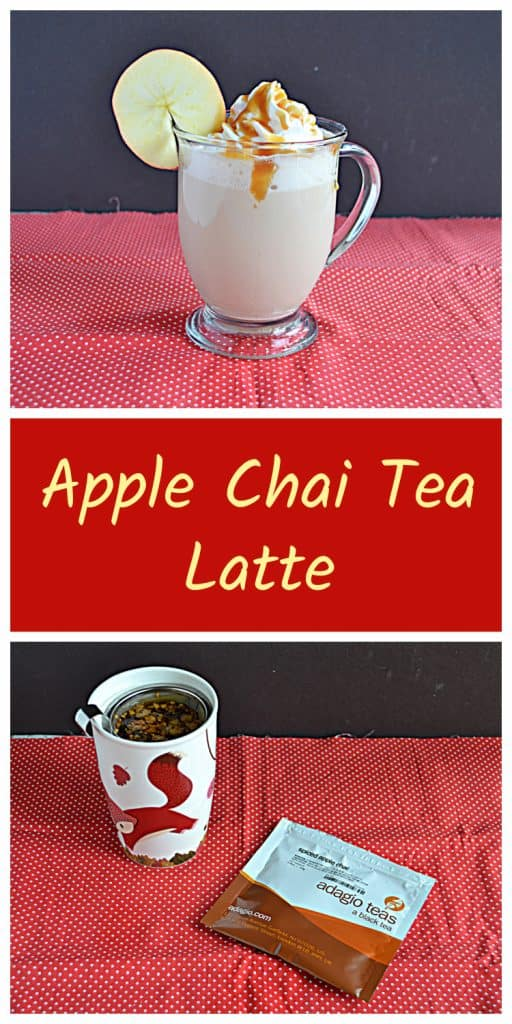Pin Image: A side view of an Apple Chai Tea Latte with whipped cream and caramel on top and an apple wheel on the lip of the glass, text, a mug with a tea infuser in it and a package of loose leaf Spiced Apple Chai Tea.