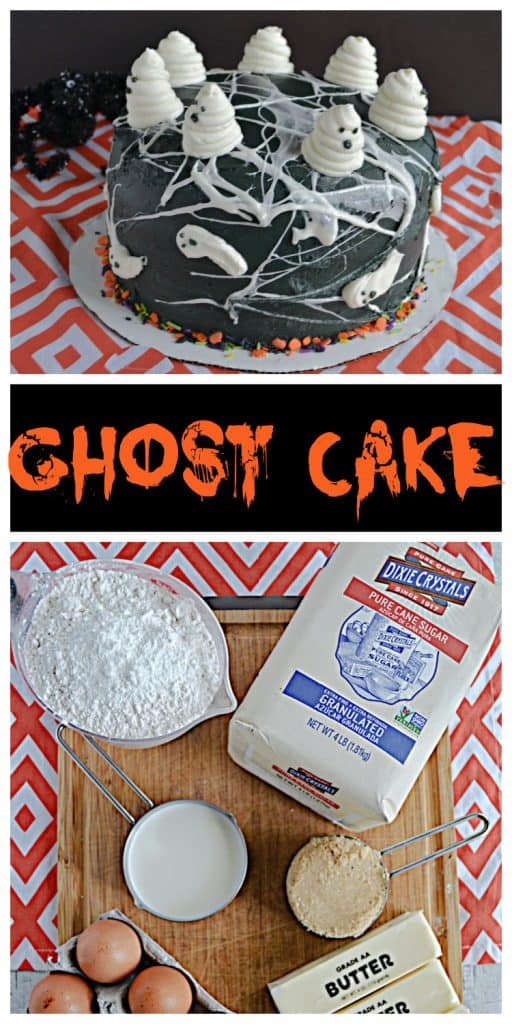 Pin Image:  A black cake covered in marshmallow spiderwebs and swirled buttercream ghosts on top, text, a cutting board with a bag of sugar, a cup of flour, a cup of milk, 3 sticks of butter, and a half dozen eggs on it.